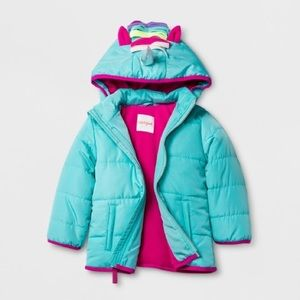 Toddler Girls' Unicorn Hood Puffer Jacket